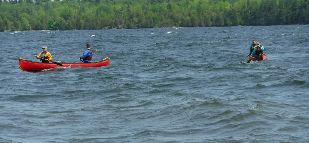 Canoeists in open water